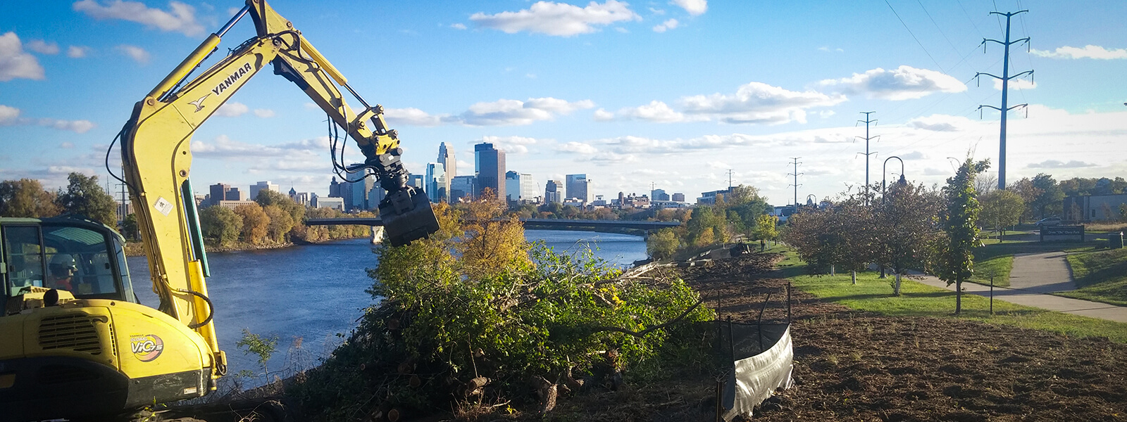 excavator clearing trees near river