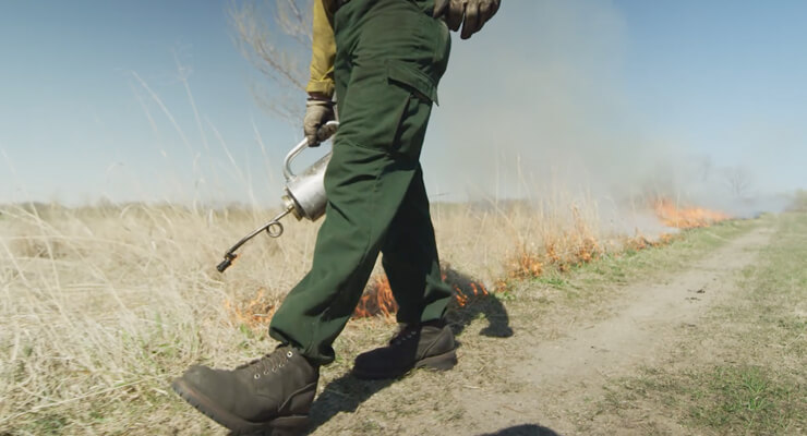 person walking starting a fire line